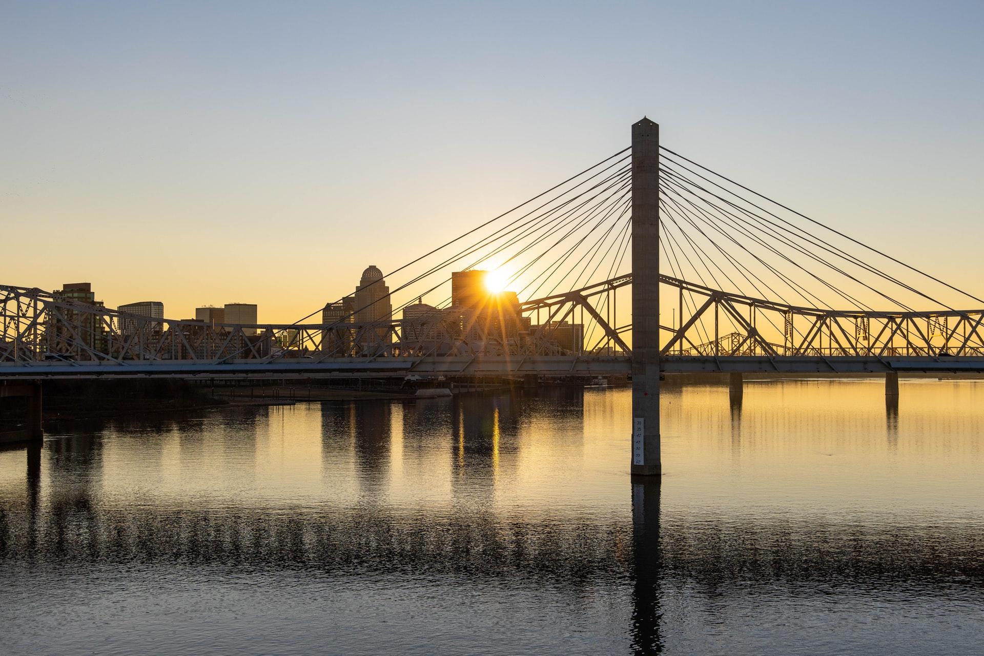 Louisville skyline at sunset